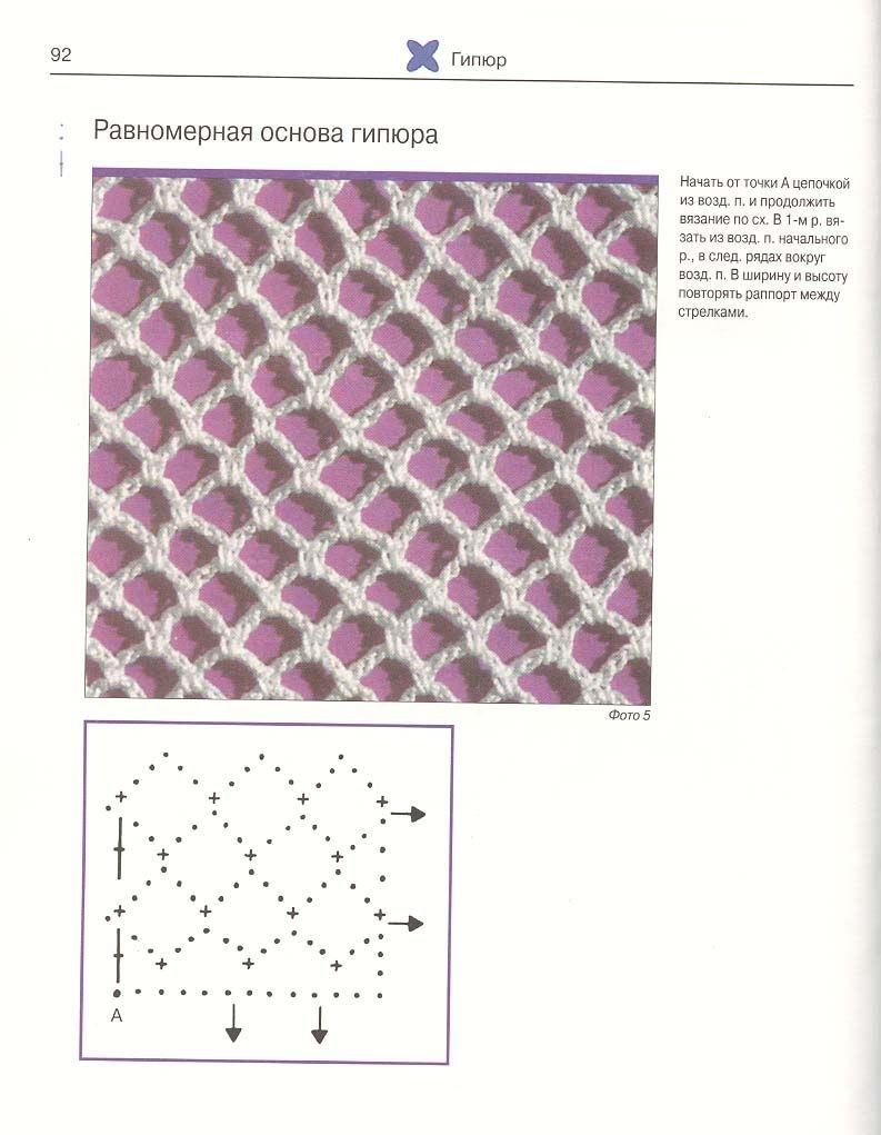 Сетка крючком со схемами и описанием фото 667