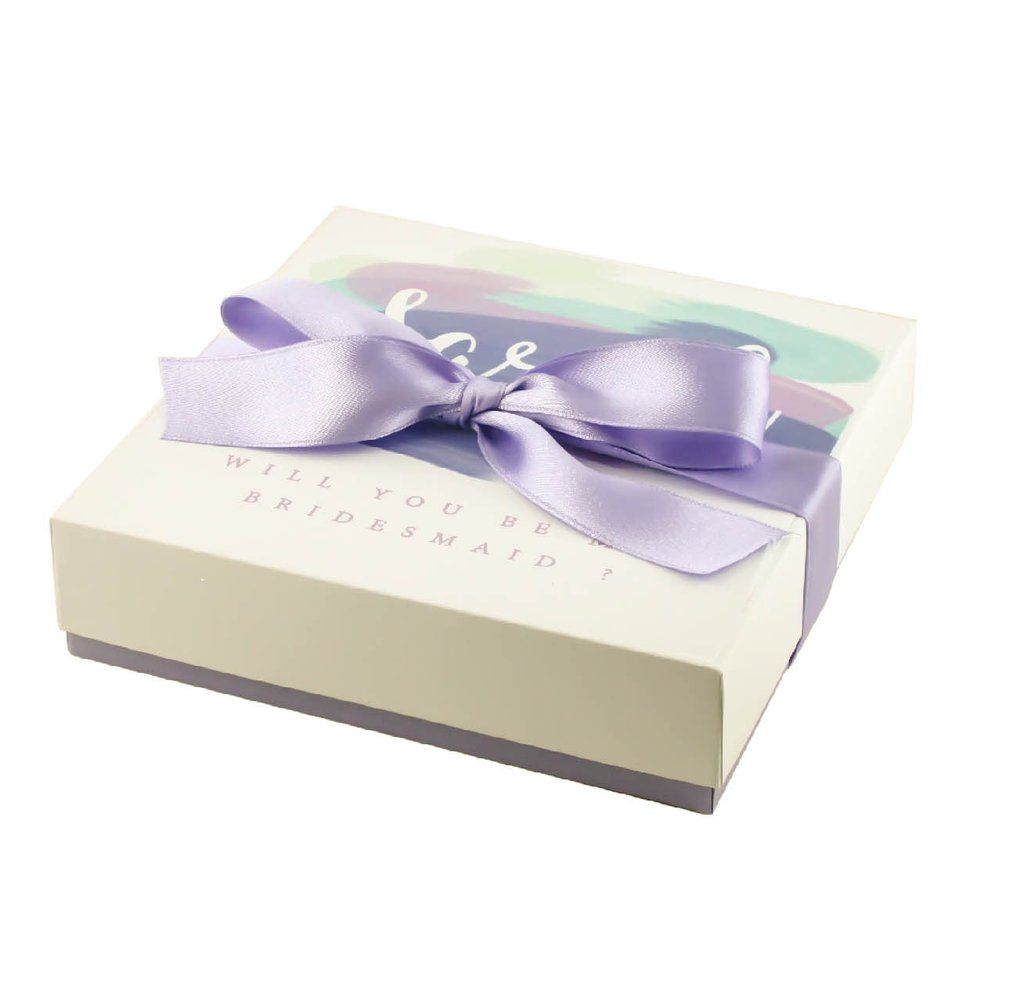 best bridal shower gifts for guests%0A Purple will you be my Maid of Honor gift box personalized purple bridal  shower gift ideas