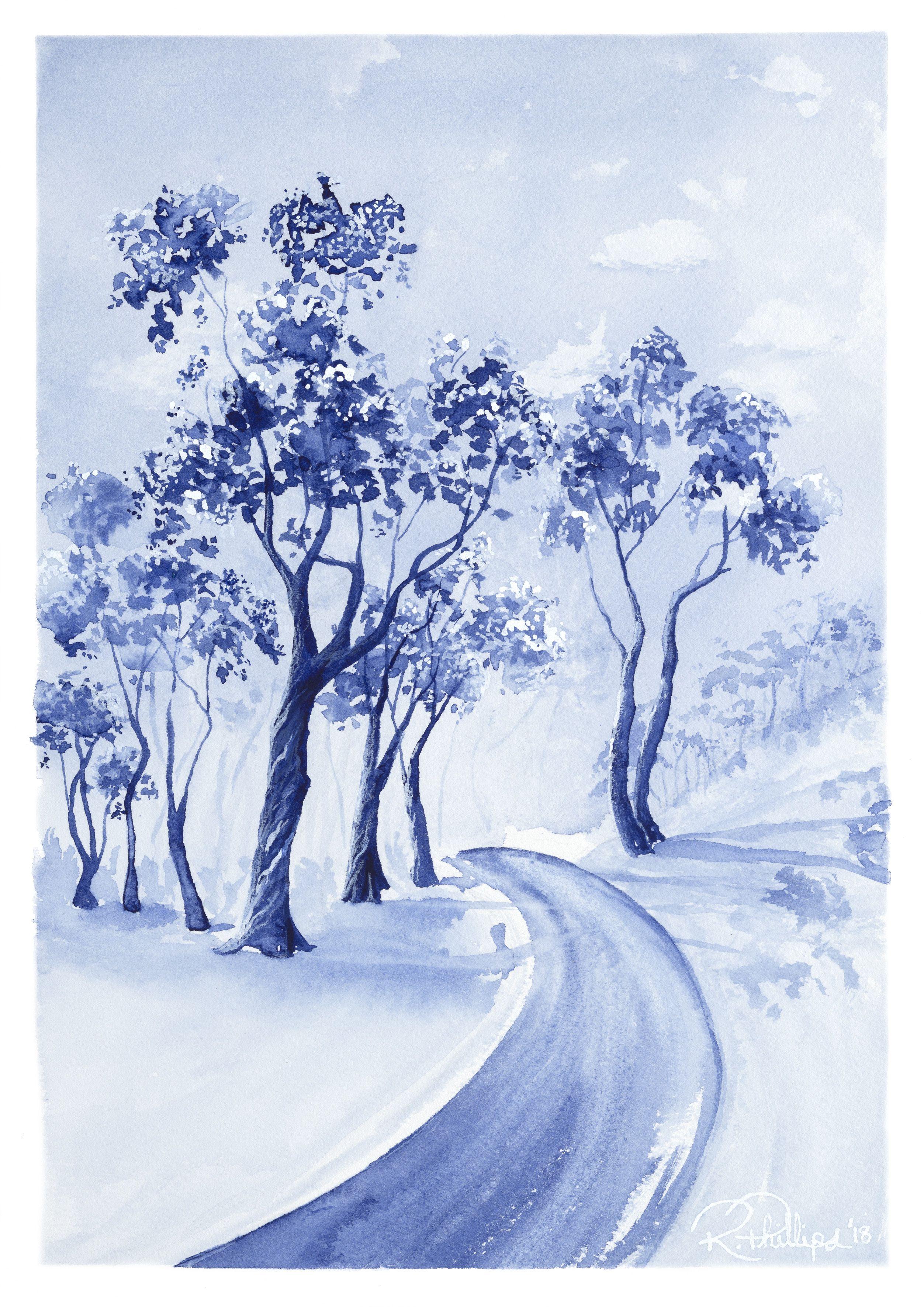 Gum Tree on the Track Artwork, Monochrome art, Original