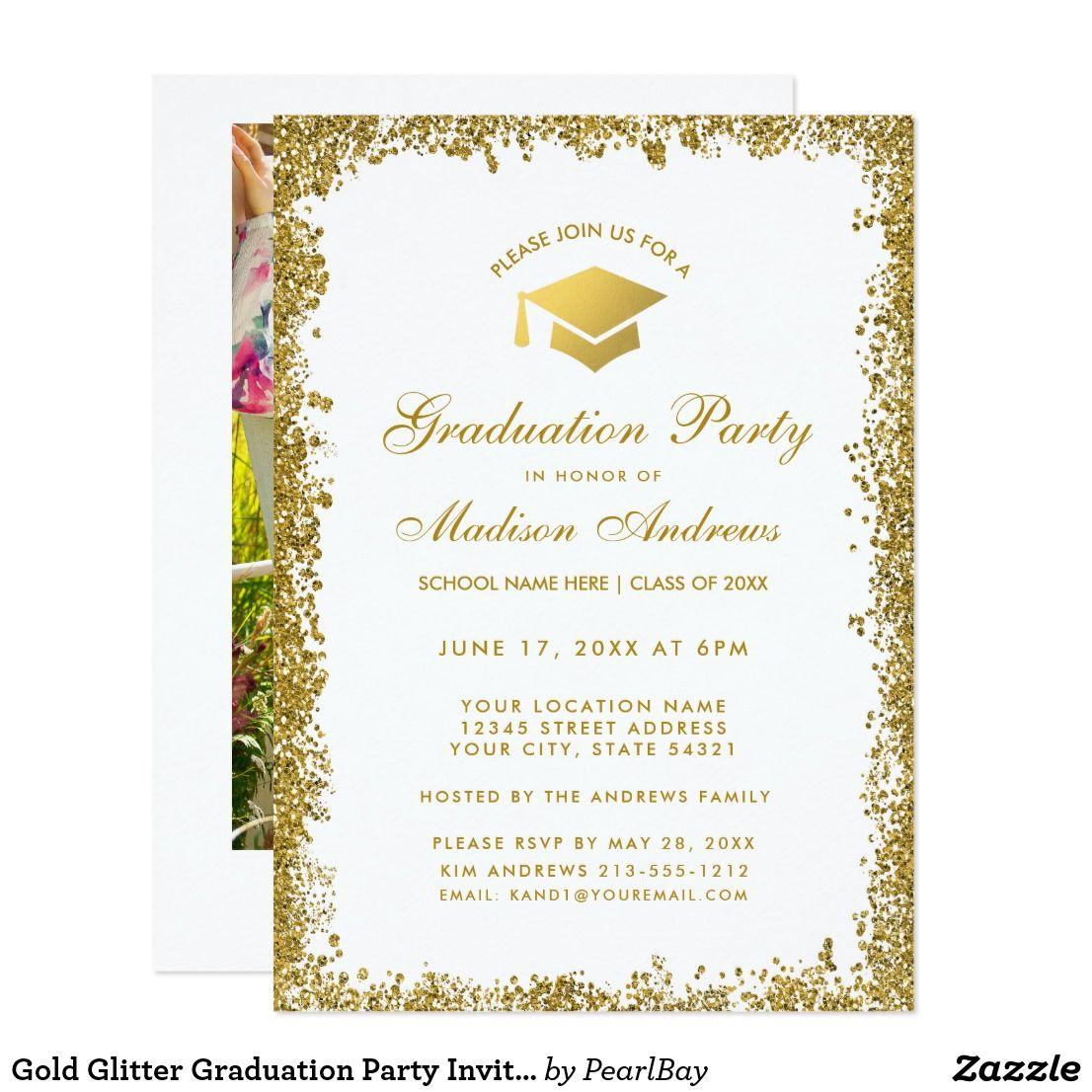 Gold Glitter Graduation Party Invite W