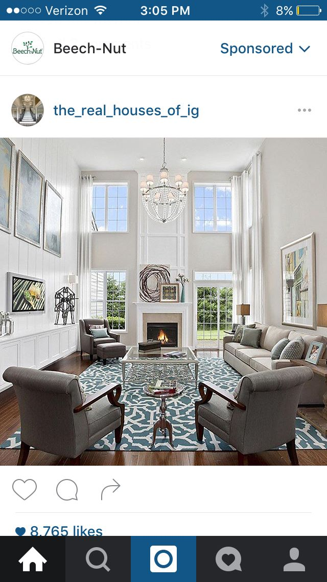 Two Story Family Room Fireplace Ship Lap Walls