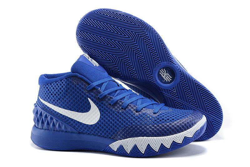Mens Nike Kyrie Irving White Blue Basketball Shoes