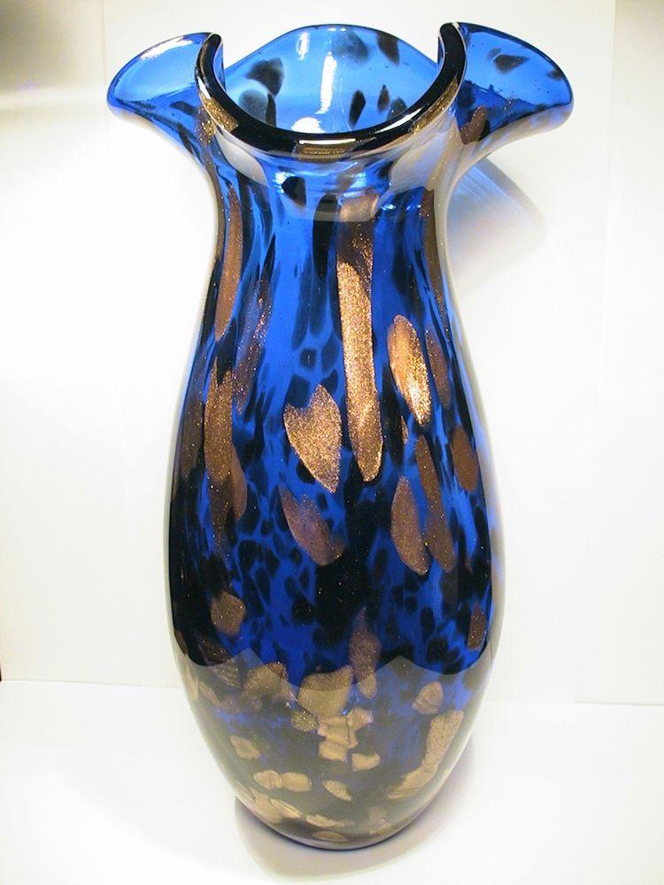 Large Vintage Cobalt Blue With Copper Aventurine Art Glass Vase