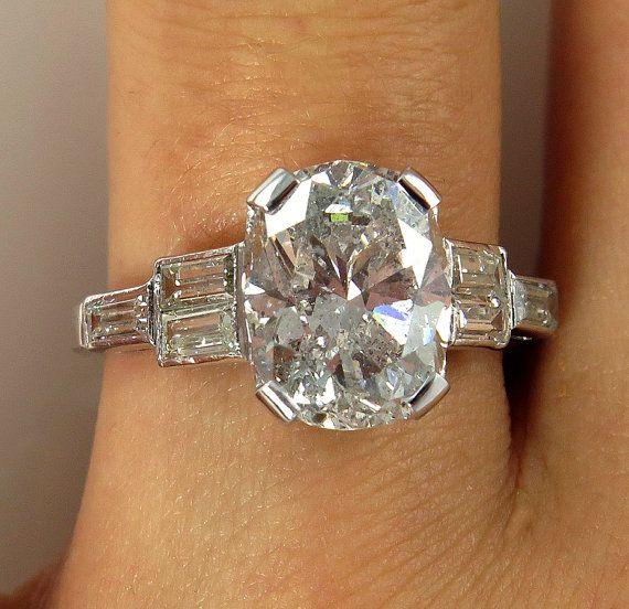 Art Deco 4.01ctw Antique Vintage CUSHION Cut Diamond Engagement Ring in PLATINUM, Circa1930s
