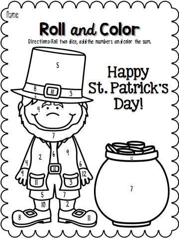 Roll and Color March St patrick day activities