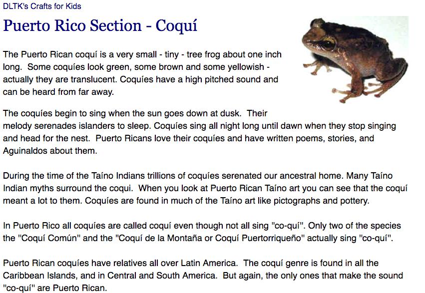 Puerto Rico Taino - Coqui (Tree Frog) http://www.dltk-kids.com/world ...