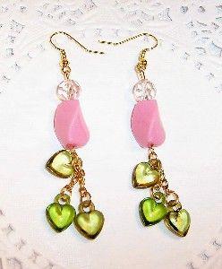 pink & green earrings