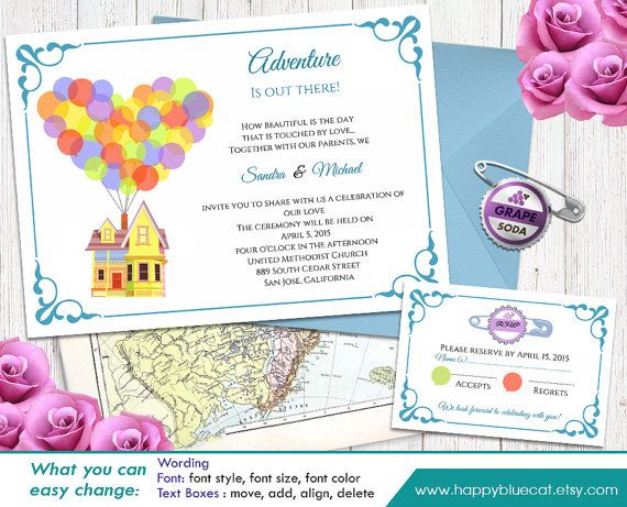 Up Pixar Inspired Diy Printable Wedding Invitation And Rsvp Template Instant Download Editable Text Microsoft Word Format Hbc004 In 2020 Diy Printable Wedding Invitations Diy Wedding Invitations Templates Printable Wedding Invitations