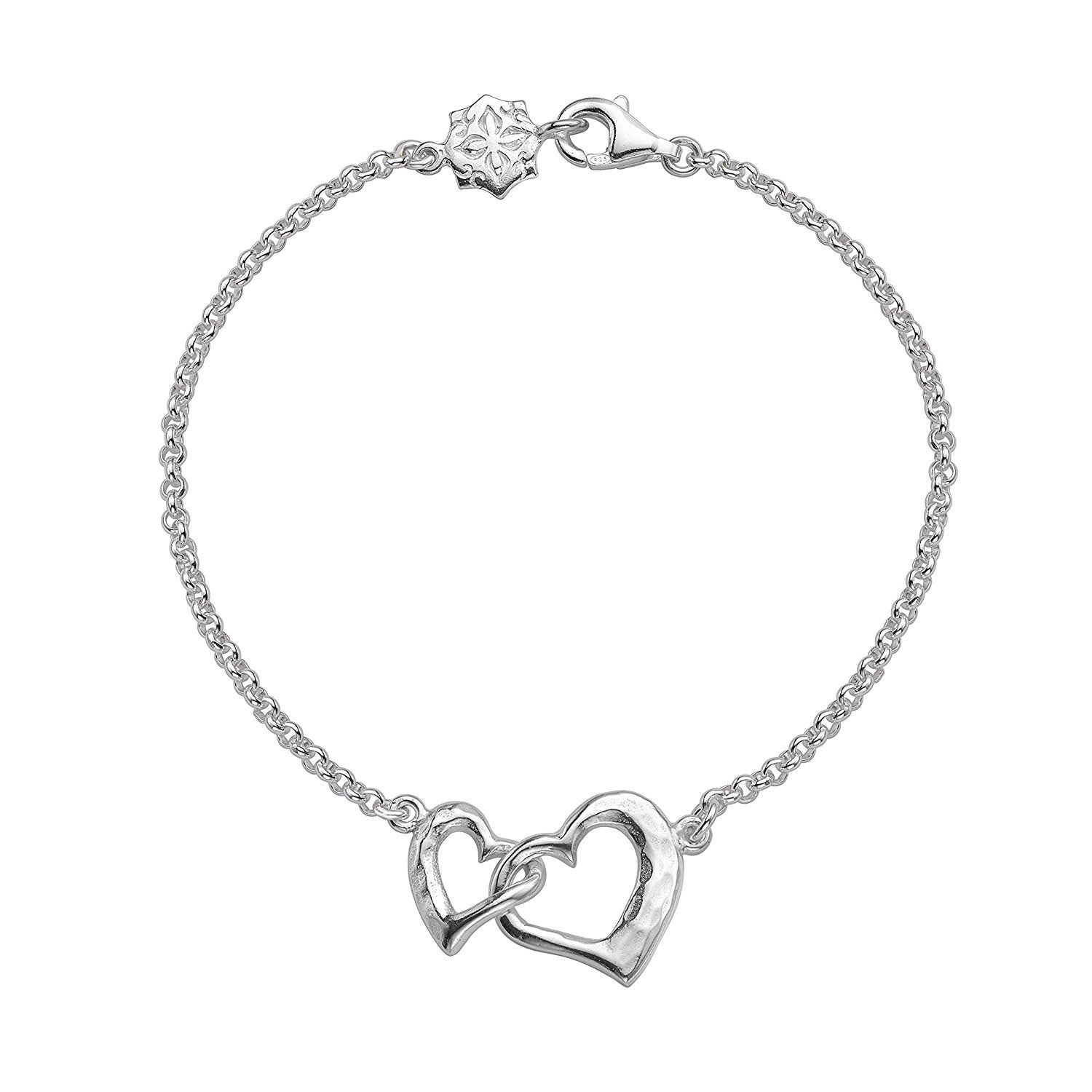 DOWER & HALL Entwined Sterling Silver Interlocking Circles Double Chain Bracelet of 18.5cm b1meF