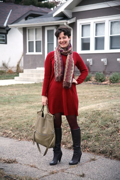 Missoni scarf, sweater dress, burgundy tights, slouch ...