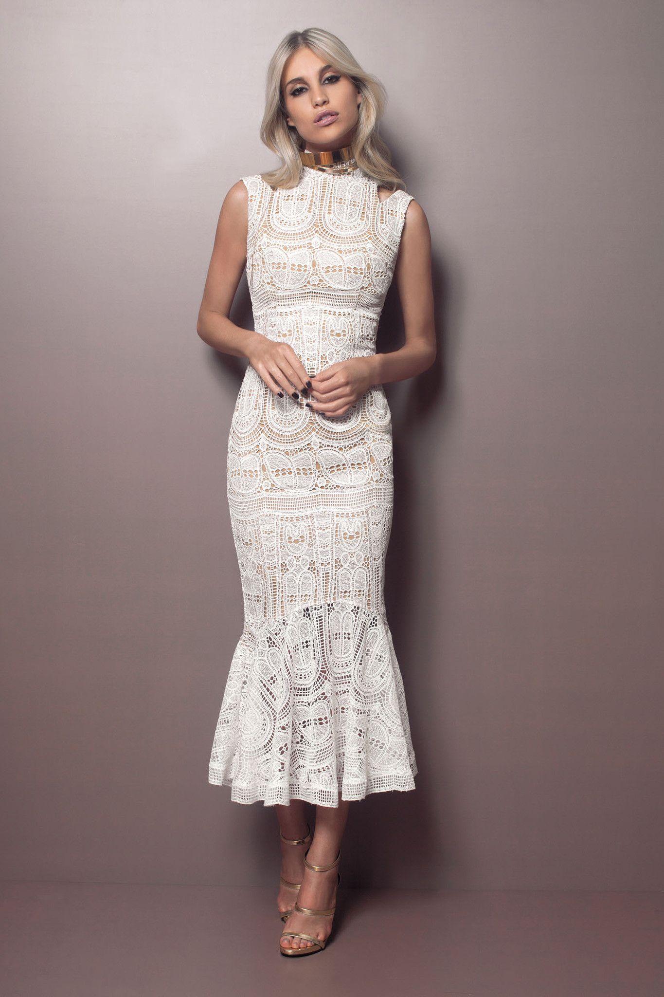 864b32dac Resultado de imagem para vestido branco midi | Ткани | Prom dresses ...