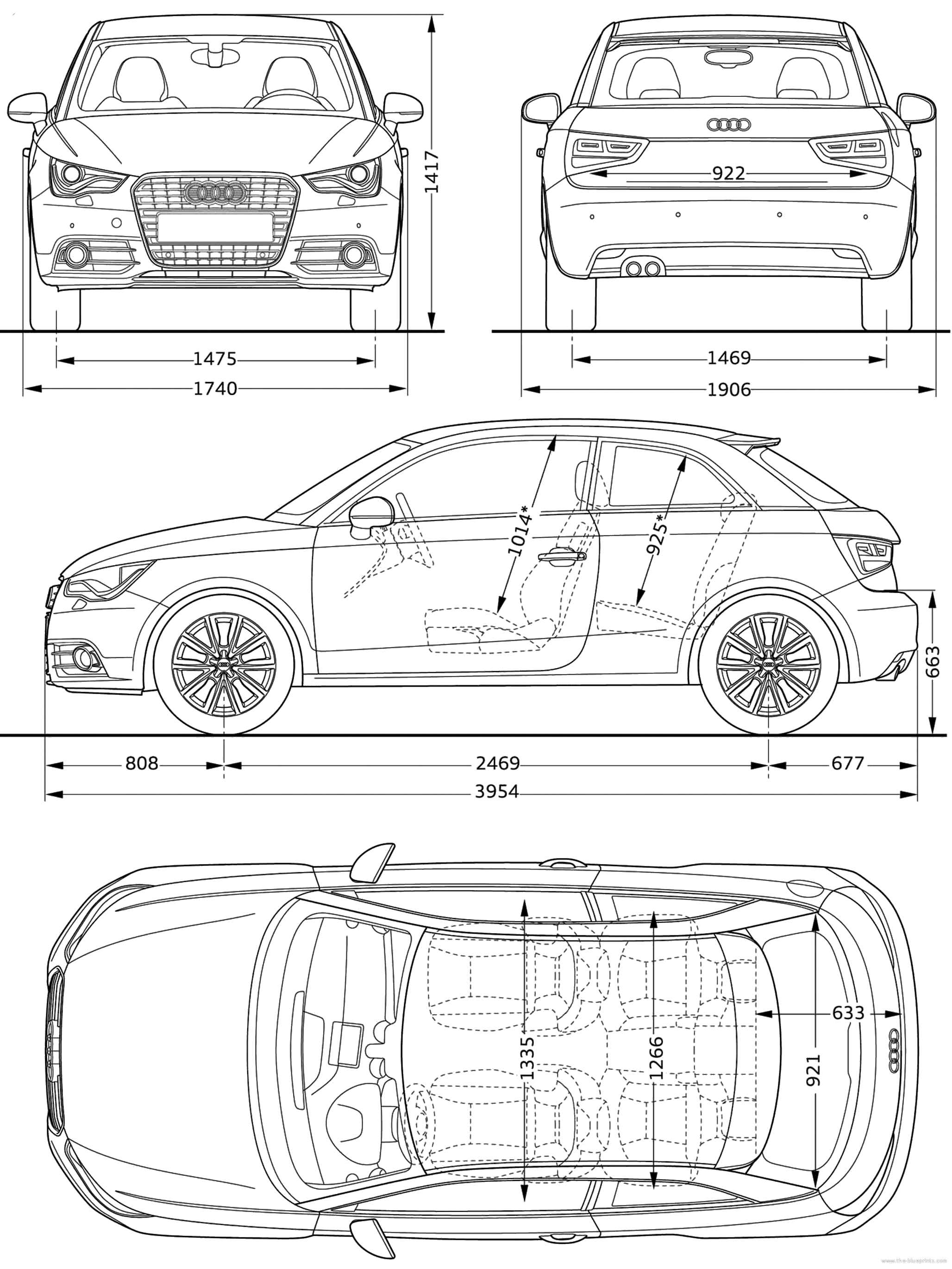 The Blueprintscom Blueprints > Cars Audi A1 2010 | blueprints ...