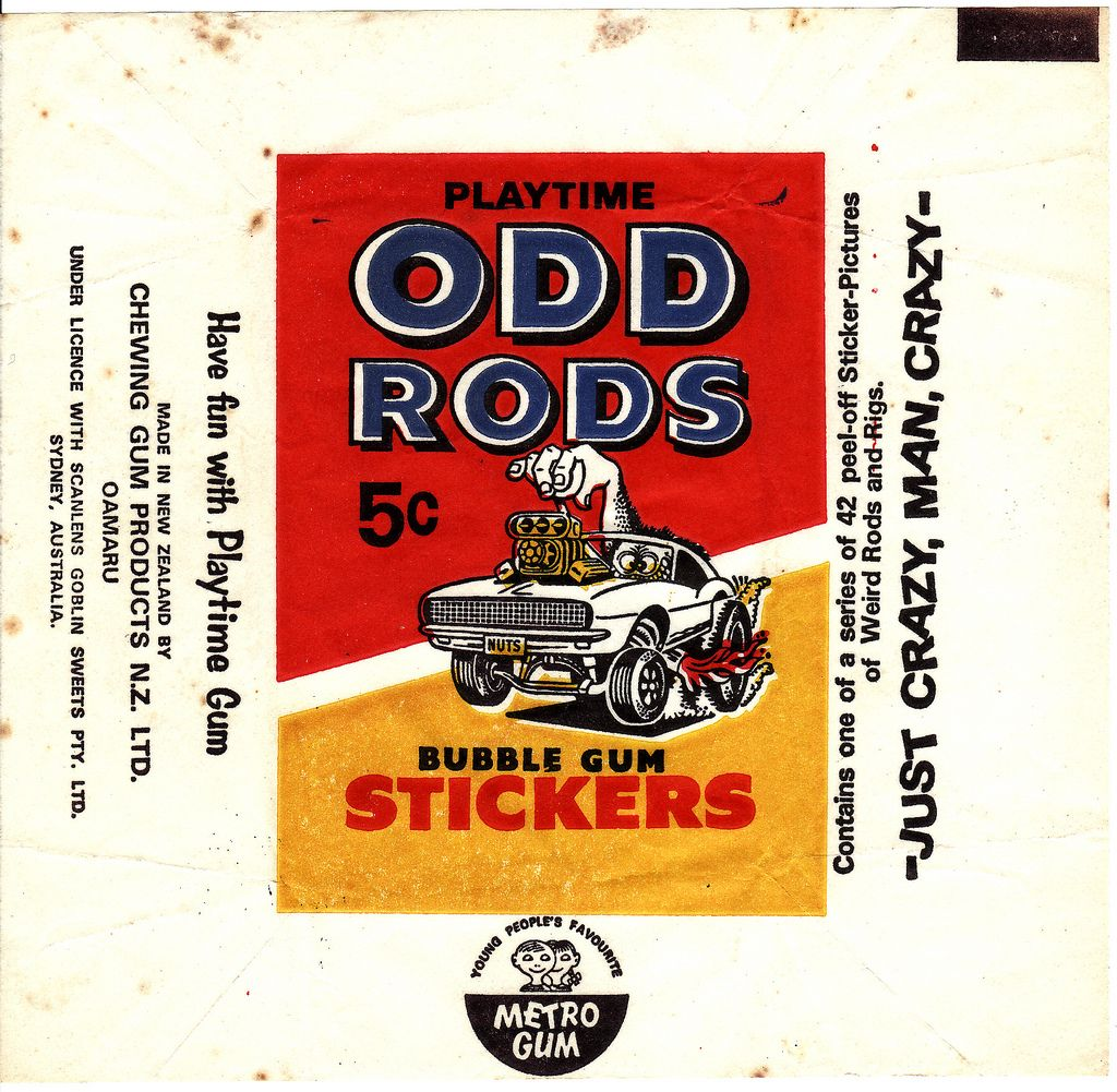 1970s Chewing Gum Products Odd Rods Stickers Wrapper New Zealand Bubble Gum Cards Chewing Gum Bubble Gum