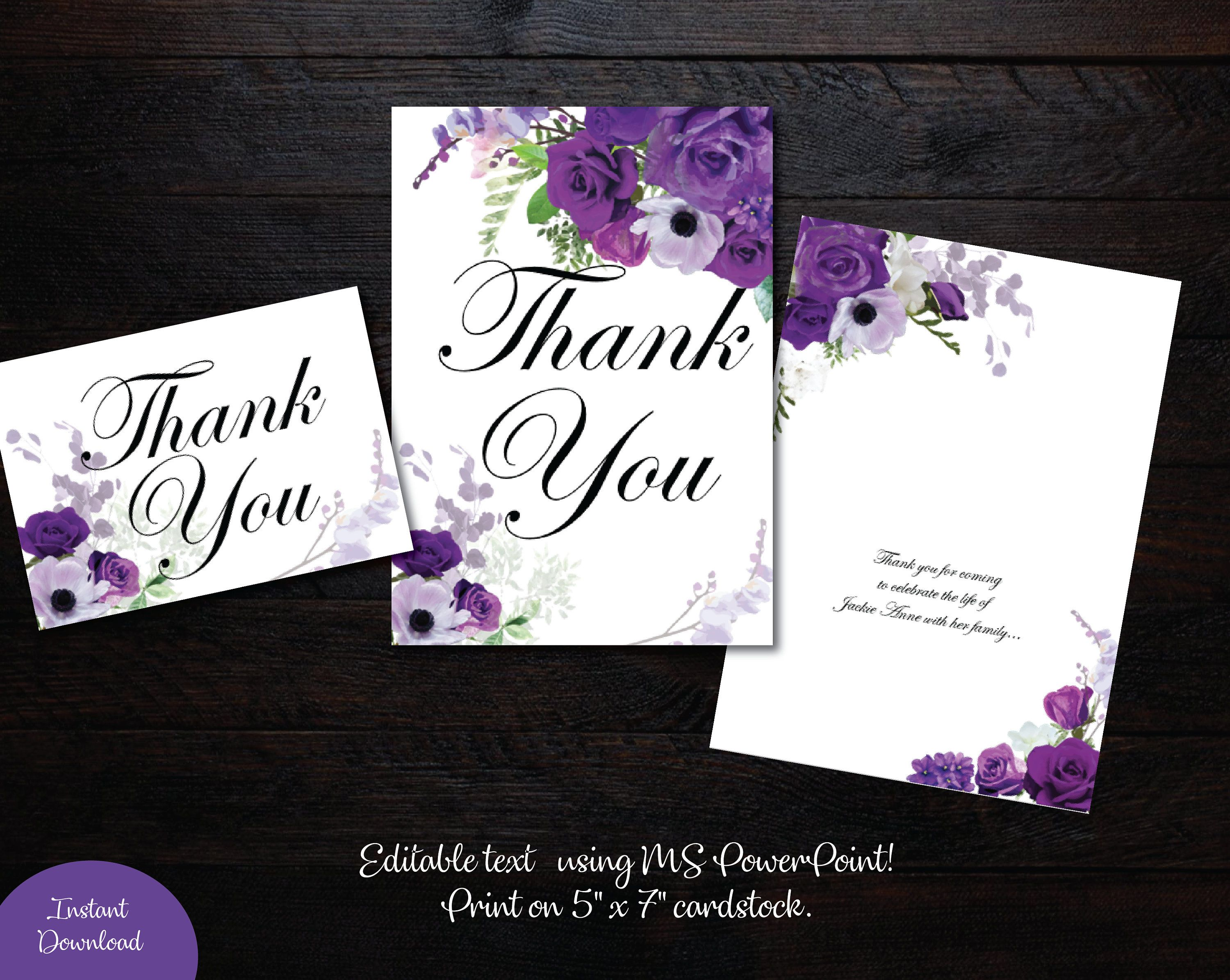 Funeral Thank You Card 5x7 Flat And Folded Card Memorial Thank You Wedding Thank You Card Funeral Thank You Cards Funeral Thank You Thank You Card Template
