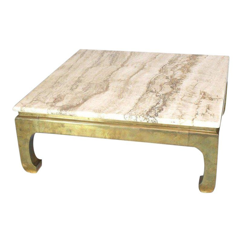 1970s Modern Solid Brass Base Square Travertine Top Coffee Table Wohnzimmertische Tisch In Der Mitte Und Tisch