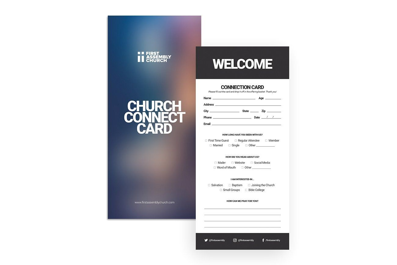 Visitors Connection Card Card Template Flyer Church