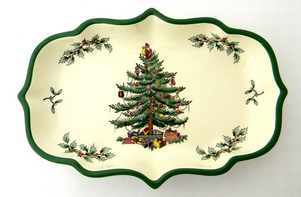 Details about Spode Christmas Tree Ogee Candy Dish Green Trim