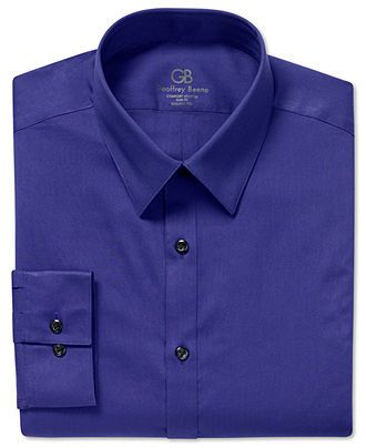 Geoffrey Beene Dress Shirt, Fitted Solid Stretch Long Sleeve Shirt ...