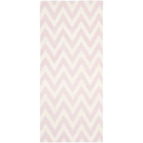 Dhurries Pink and Ivory Runner: 2 Ft. 6 In. x 8 Ft. Rug - (In Runner)