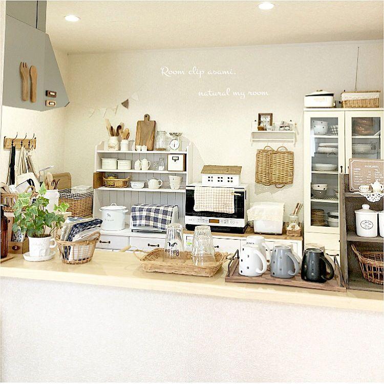 キッチン カウンターキッチン ナチュラルキッチン 飾り棚 整理整頓