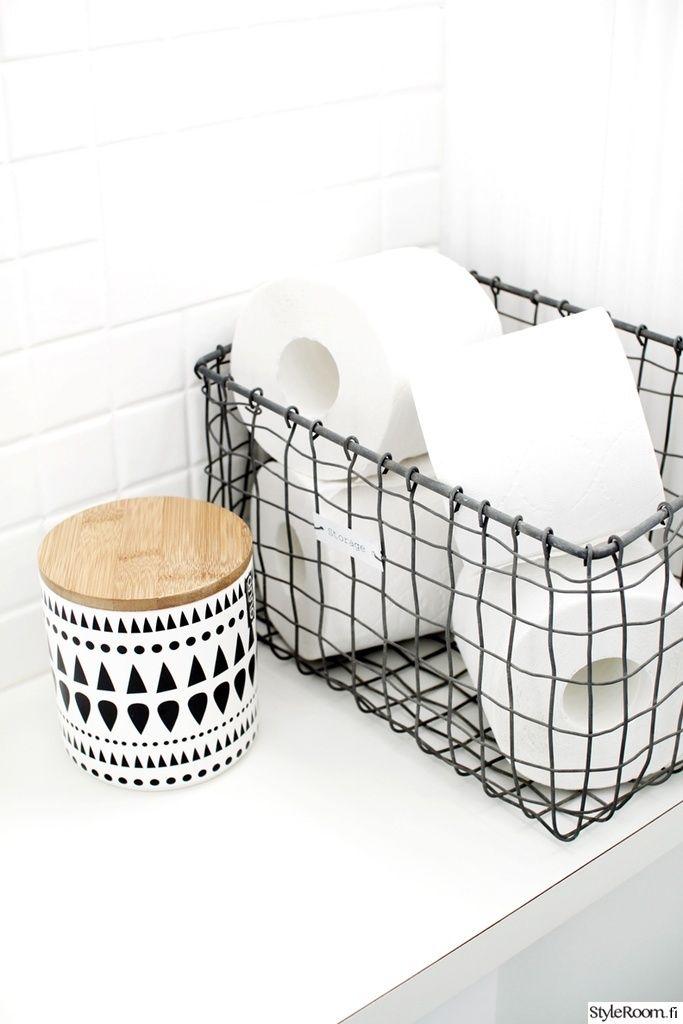 Kleinste kamertje Styleroom decoratie draadmand wcrollen | badkamer ...