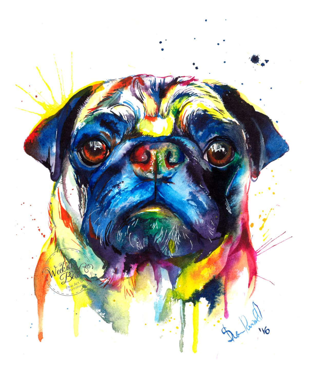 Colorful Pug Art Print Print Of My Original Watercolor Painting
