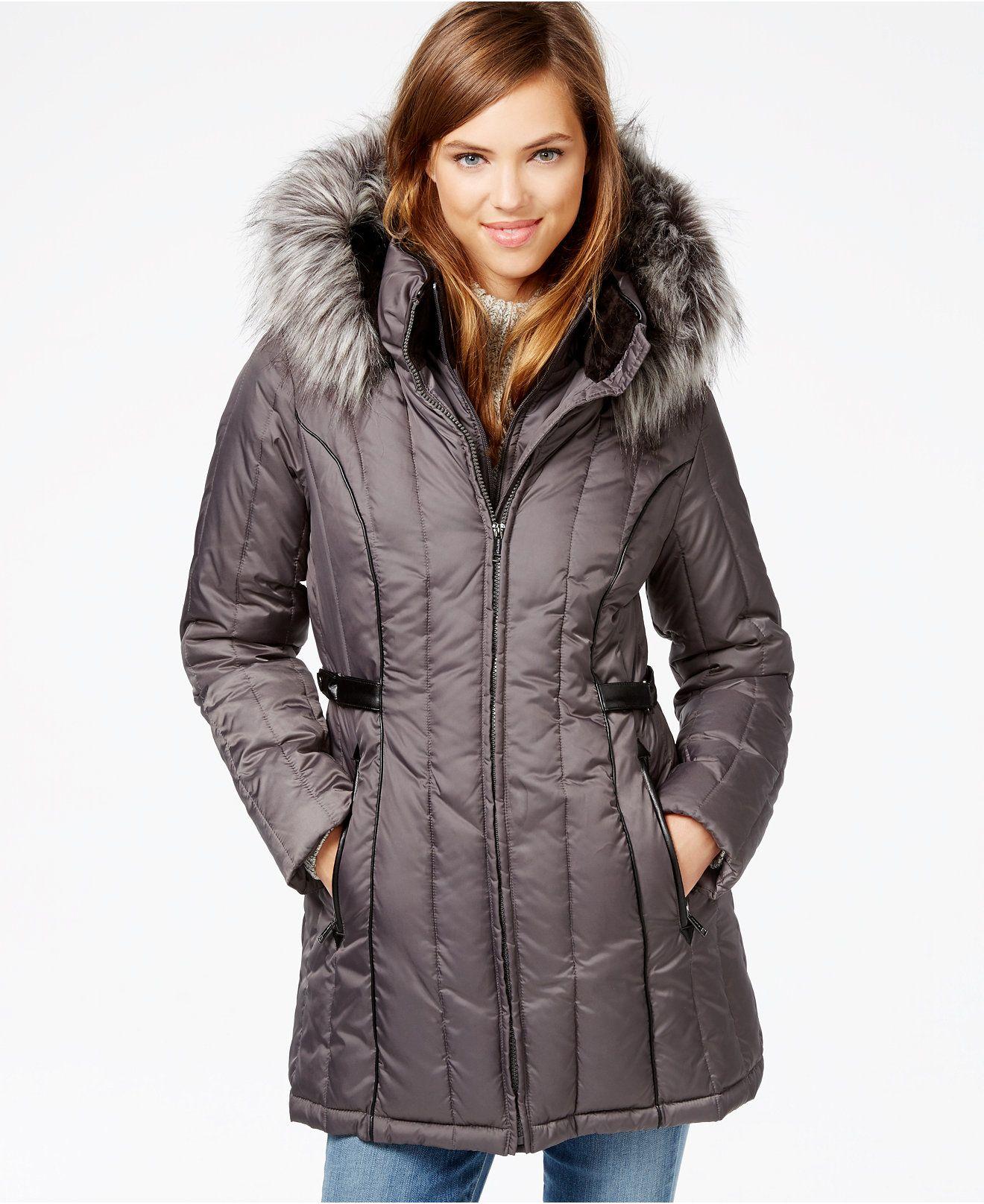 Nautica Faux Fur Trim Hooded Puffer Coat Coats Women Macy S Coats For Women Puffer Coat Coat [ 1616 x 1320 Pixel ]
