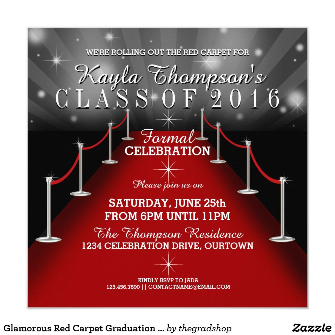 Glamorous Red Carpet Graduation Party Invitations | Graduation ...