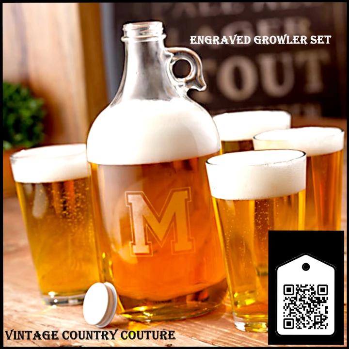 Monogrammed Beer Growler Jug with 4 Pub Glasses #brewery #brewerylife #brewerytour #brewerytown #homebrewery #mug #mugler #mügeanlı #beer_glass #bar #barbershop #giftidea #barbershopconnect #giftforhim #pub #publi #pubg #weddinggift #tttpublishing #influencermarketinghub #pub #brewery #bar #mug #beer_glass