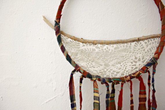 Handmade Lace and Sticks Boho Bohemian Decorative Wall Hanging Plaid Autumn Dream Catcher Style Home Decor