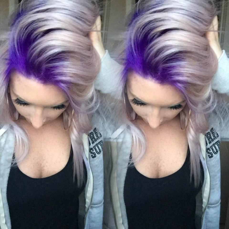 Stylist selfie formula for this gorg purple to platinum melt