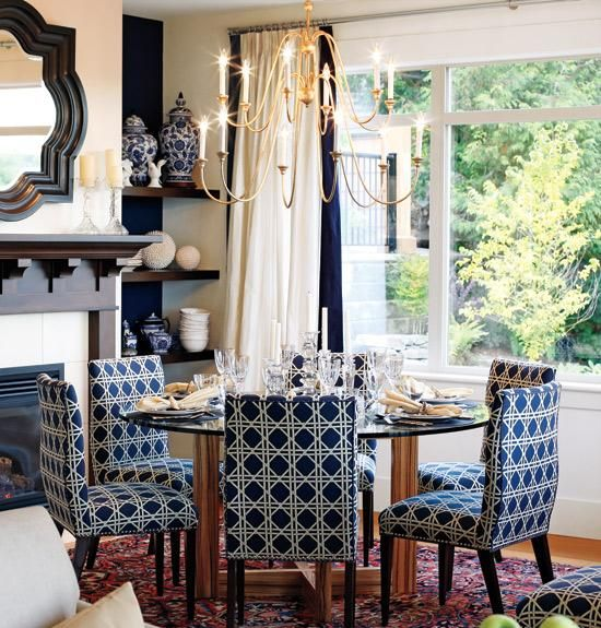 Sarah Richardson Ivory Blue Dining Room Design With Blue Waverly