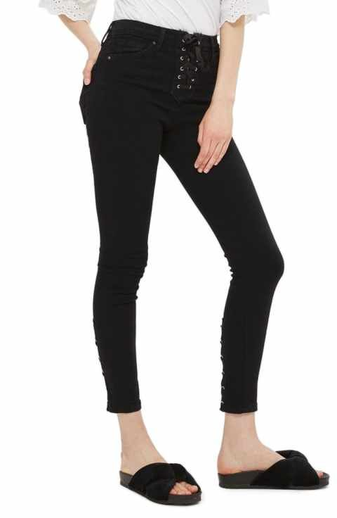 High Waisted Mom Jeans · Topshop Jamie Lace-Up Fly Skinny Jeans (Regular    Petite) Petite Women 2a0e9f399d