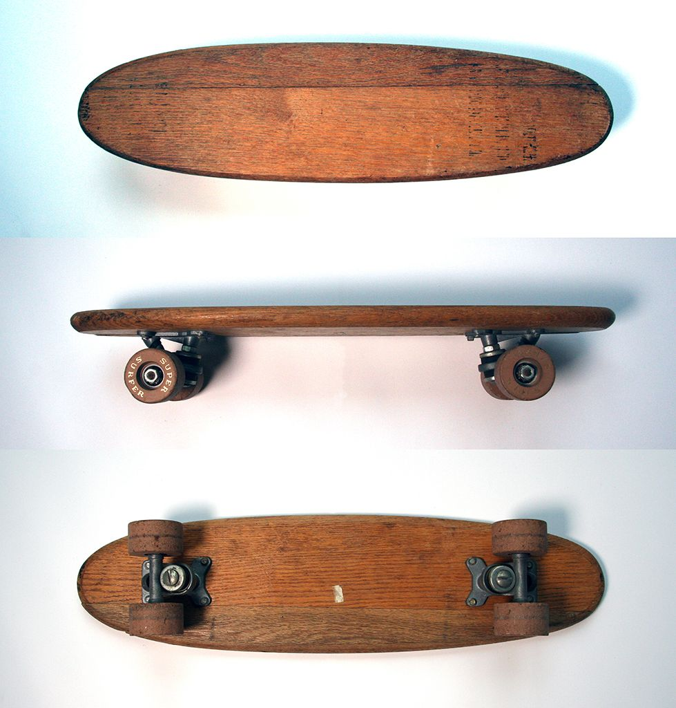 Super Surfer Vintage Skateboard With Clay Wheels And Open Bearings