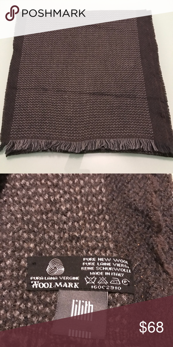 Lilith wool scarf Pure new wool - really soft- made in Italy. Charcoal grey with intarsia of small lighter grey specks down the center. 14 x 60. Like new condition, worn only a couple of times. Lilith Accessories Scarves & Wraps