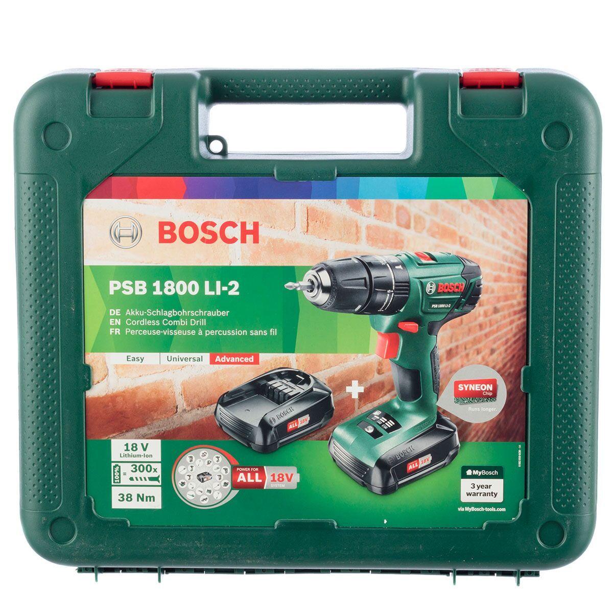 Bosch Psb Li 2 1800 18v Cordless Drill With Spare Battery Case In 2020 18v Cordless Drill Drill Cordless Drill