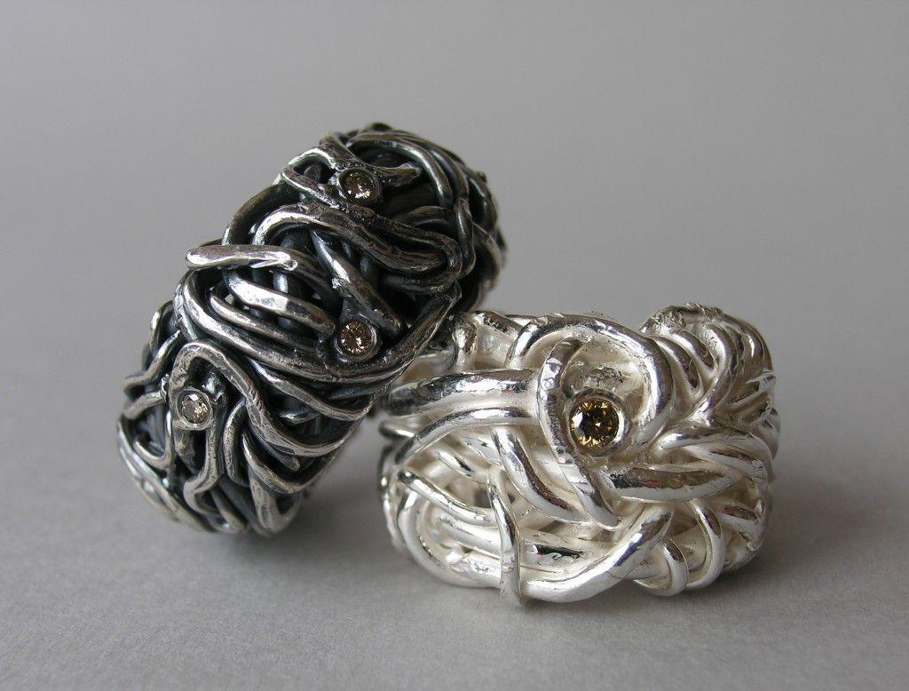 jenny edlund - rings, silver, coffe diamonds