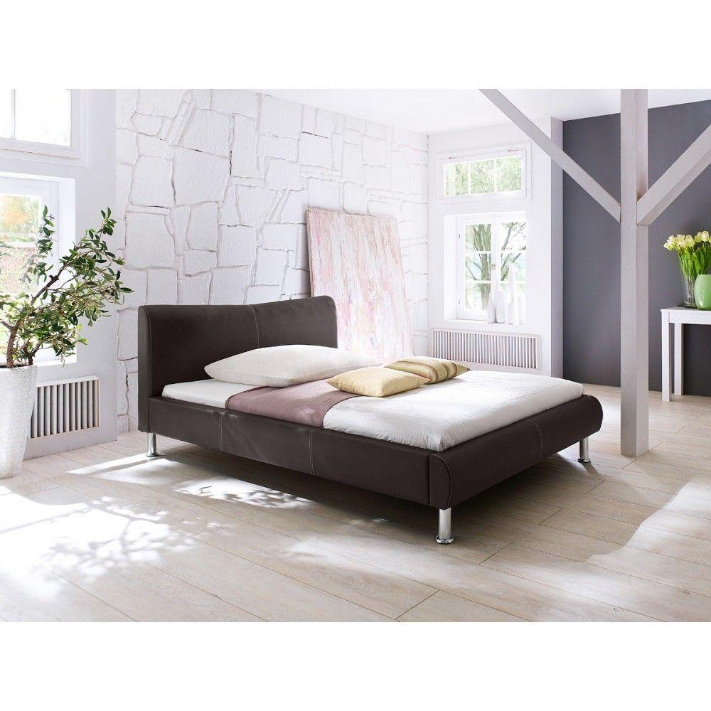 Diamond Sofa River Bed in Brown or Mink Leatherette w/ Metal Leg #bedroomfurniture #bedroom #homefurniture