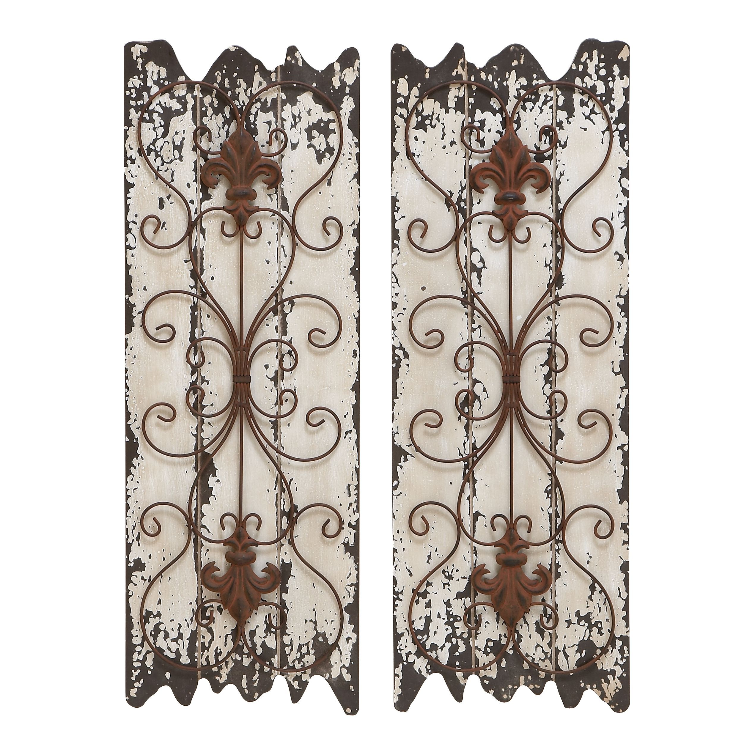 This elegant wall decor is finished with distressed wood and metal