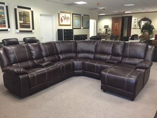 Ikea Sofa Bed UFE Robinson Sectional Sofa with Recliner Chaise Console w Cup Holders Bubble Leather Brown