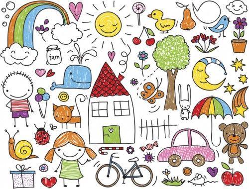 かわいい イラスト 子供のお絵かき 落書きの絵 ドゥードゥルアート