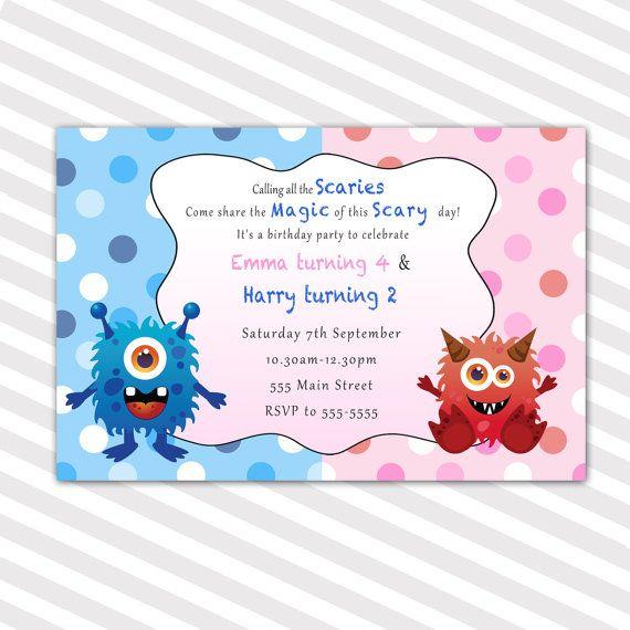Little Monsters Birthday Invitation Card Sibling Boy Girl