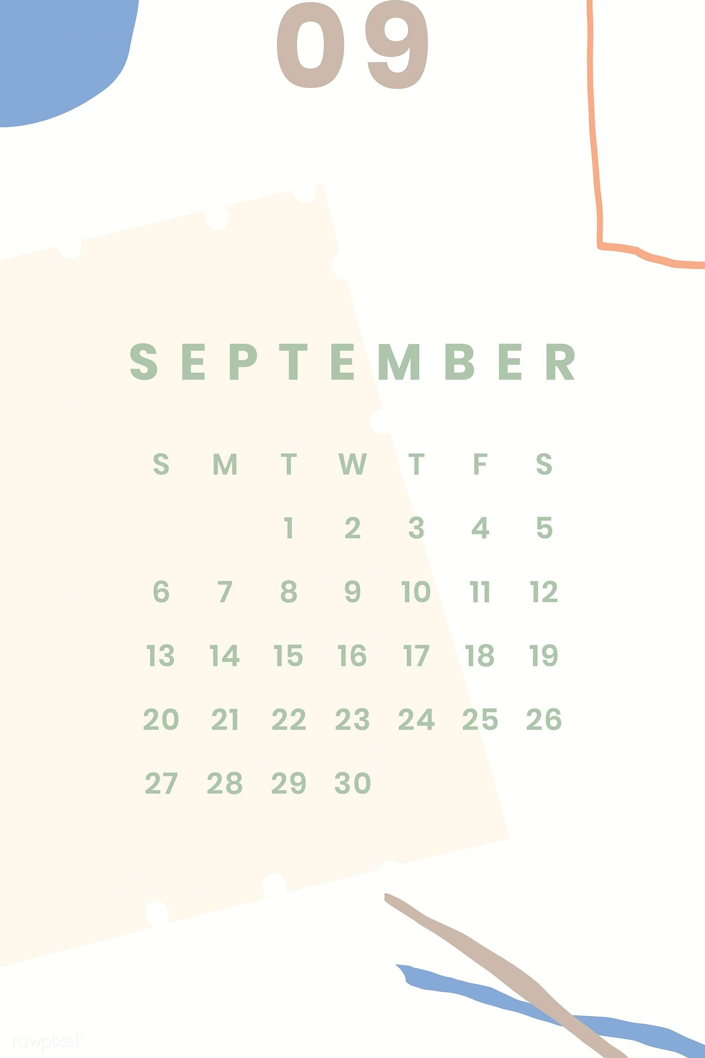 Download premium vector of Colorful September calendar