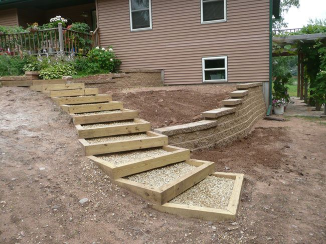 Enclosed gravel and wood steps for between the driveway for Pictures of garden steps designs