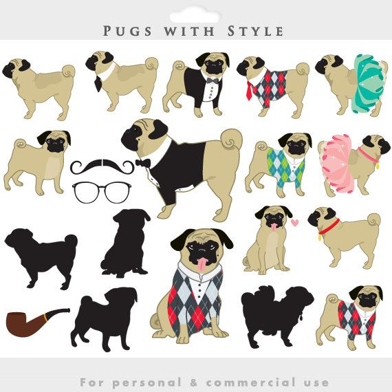 Pugs clipart - dog clip art whimsical puppies puppy, cute ...