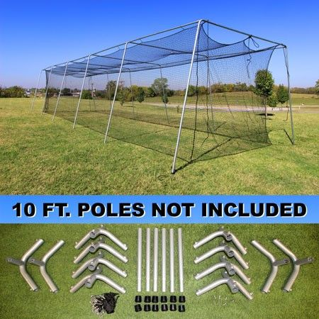 Batting Cage Net And Frame Kit 50x12x10 Baseball Softball Hitting Tunnel Batting Cage Net Batting Cages Batting Cage Backyard