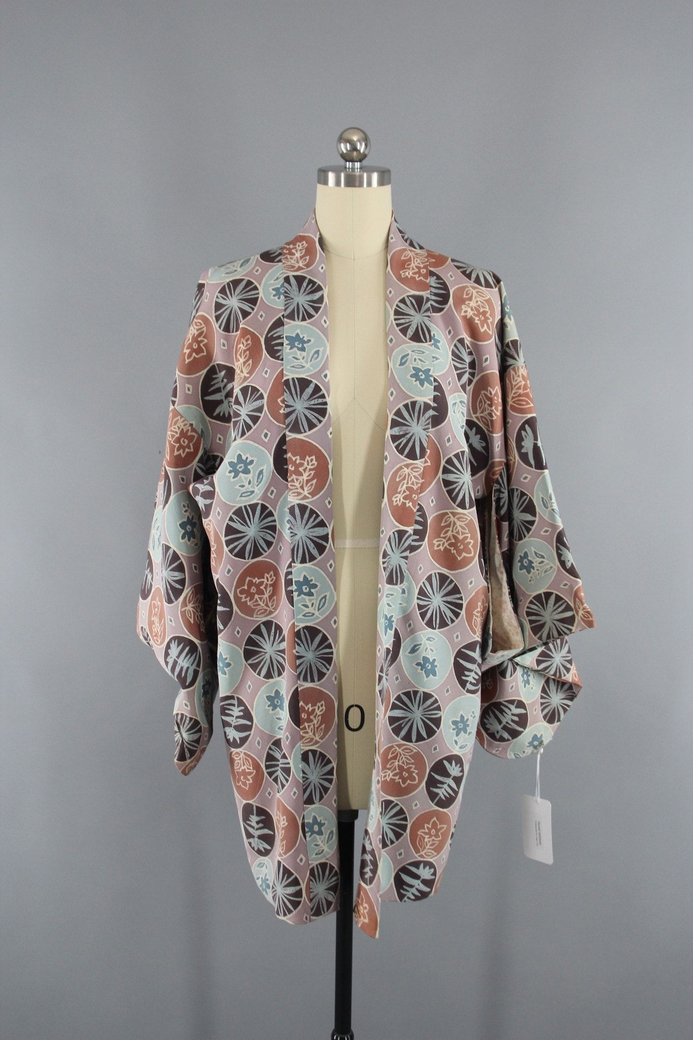 Vintage 1950s Silk Haori Kimono Jacket Cardigan in Blue and Taupe ...