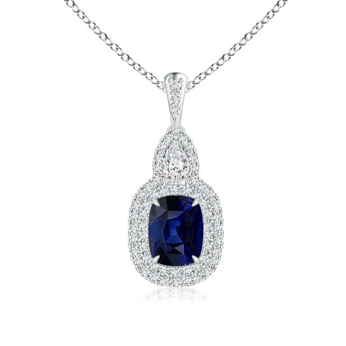 Angara Dangling Natural Sapphire Diamond Halo Pendant in Platinum 8z7y4O