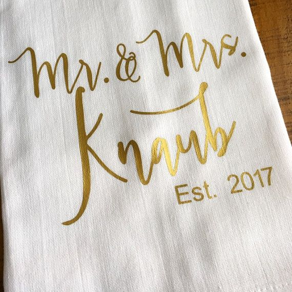 Personalized Mr And Mrs Kitchen Towel Custom Gold Wedding Gift