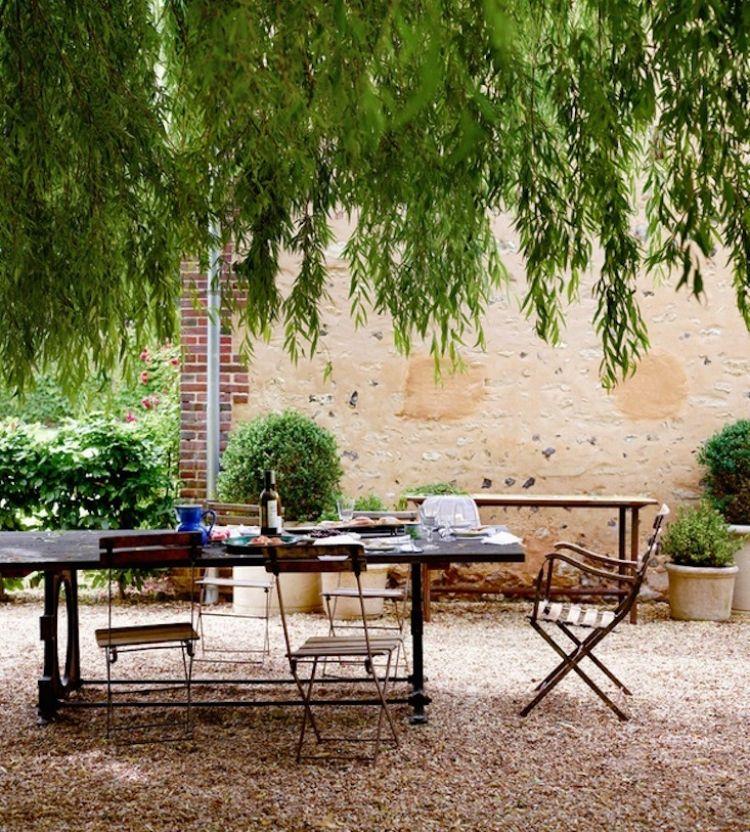 Steingarten Anlegen Gartengestaltung Kies Splitt Romantisch Weiden Baum